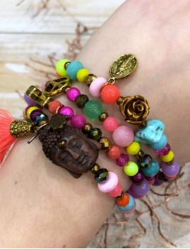 Bracelet/collier multicolores - Boutique l'ananas