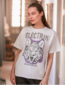 T-shirt rock imprimé loup hippie - Boutique L'anana(s)