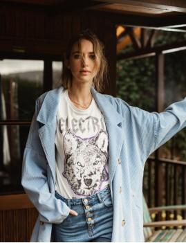 T-shirt rock imprimé loup bohème - Boutique L'anana(s)