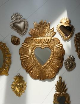Miroir exvoto big déco hippie doré - Boutique L'anana(s)