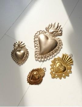 Coeur exvoto love déco bohème doré - Boutique L'anana(s)