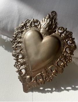 Coeur exvoto déco argenté bohème - Boutique L'anana(s)