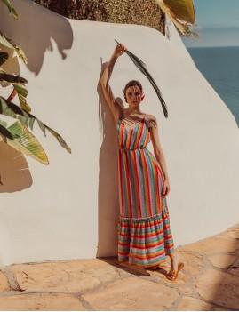 Robe longue à rayures bohème - Boutique L'anana(s)