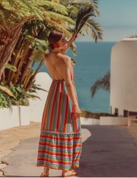 Robe longue à rayures hippie - Boutique L'anana(s)