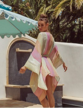 Caftan à rayures hippie summer chic - Boutique L'anana(s)