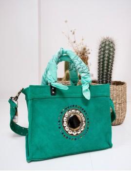 Sac vert en cuir bohème - Boutique L'anana(s)