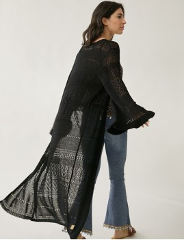 Kimono en crochet noir hippie - Boutique L'anana(s)