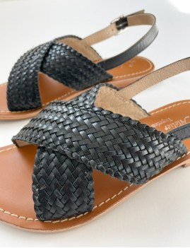 Sandales tressées noires hippie - Boutique L'anana(s)