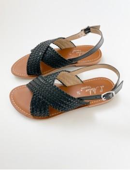 Sandales tressées noires - Boutique L'anana(s)