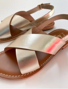 Sandales cuir doré boho - Boutique L'anana(s)