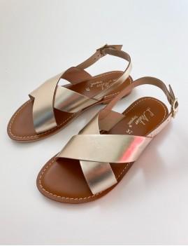 Sandales cuir doré bohème - Boutique L'anana(s)