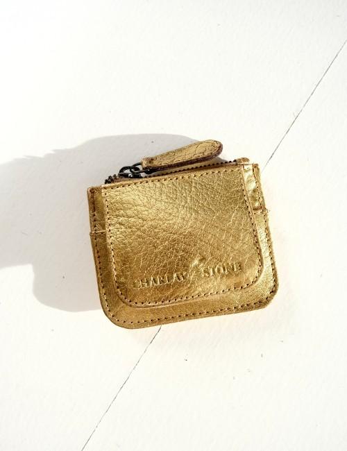 Mini porte monnaie en cuir doré - Boutique L'anana(s)