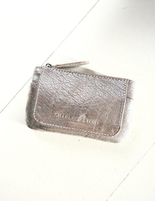 Porte monnaie en cuir argenté - Boutique L'anana(s)