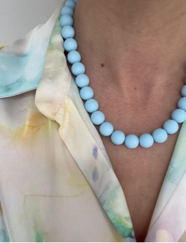 Collier en perles bleu hippie - Boutique L'anana(s)