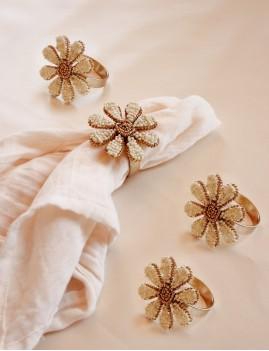Set de 4 ronds de serviette perlés déco 13161 - Boutique L'anana(s)