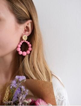 Boucles d'oreilles bohème rose M21EE039 - Boutique L'anana(s)