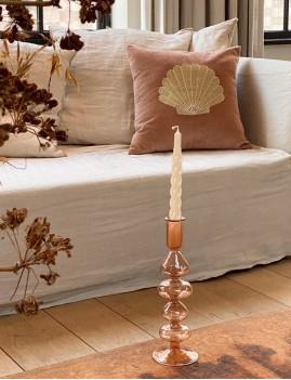 Coussin en velours coquillage rose - Boutique L'ananas