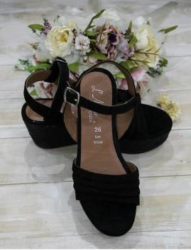 Nu-pieds en cuir noir à talons  - Boutique l'ananas