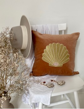 Coussin rose coquillage boho - Boutique L'ananas