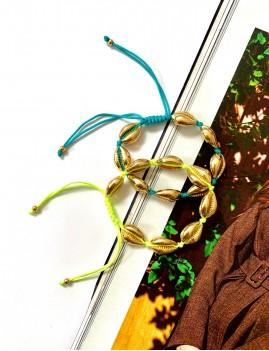 Bracelet coquillages dorés hippie CAURI - Boutique L'anana(s)
