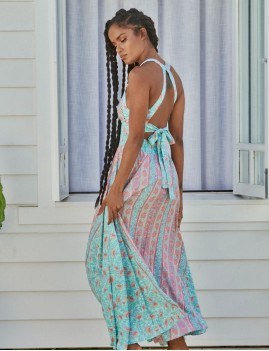 Robe à fleurs gipsy turquoise - Boutique L'anana(s)