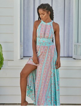 Robe longue turquoise endless- Boutique L'anana(s)