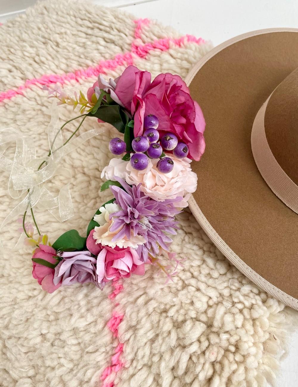 Couronne de fleurs bohème chic FLEURS15 - Boutique L'anana(s)