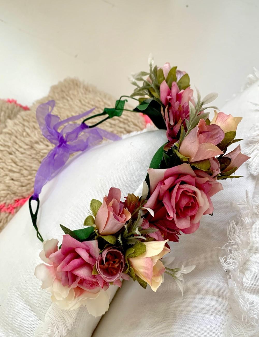 Couronne de fleurs bohème chic FLEURS14 - Boutique L'anana(s)