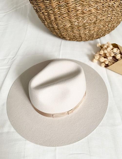 Chapeau beige summer vibes off-white LENA - Boutique L'anana(s)