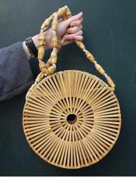 Grand panier rond en bois ajouré - Boutique l'ananas