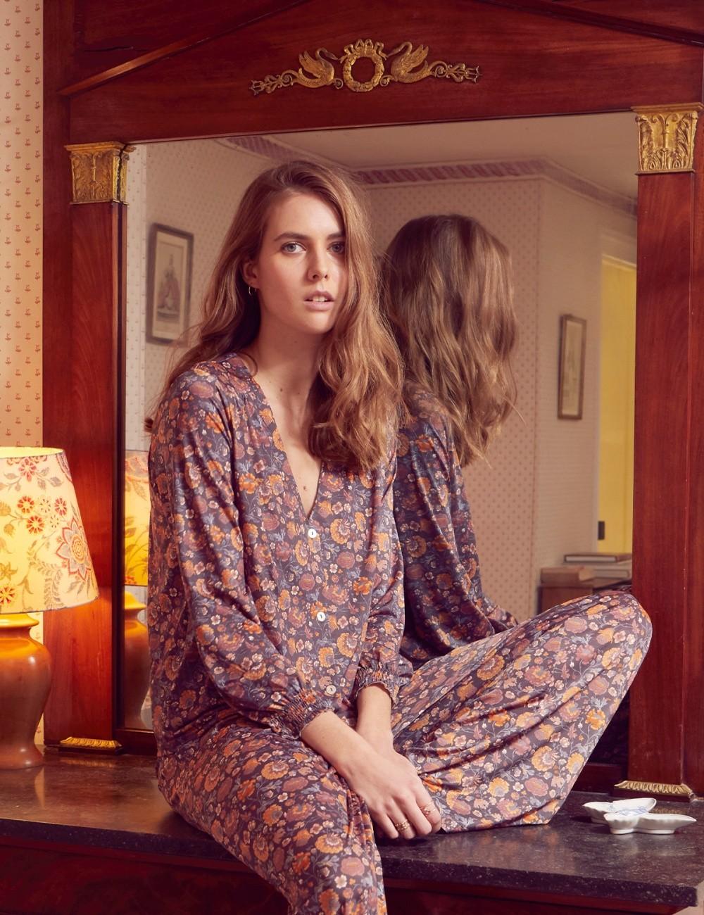 Blouse de pyjama hippie flowers LORIE - Boutique L'anana(s)
