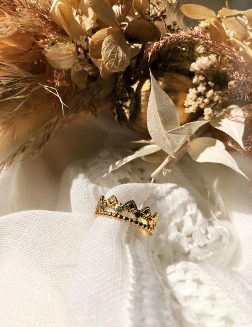 Bague couronne strass hippie M21FJ069 - Boutique L'anana(s)