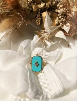 Bague rectangle turquoise dorée M21EJ048 gipsy girl - Boutique L'anana(s)