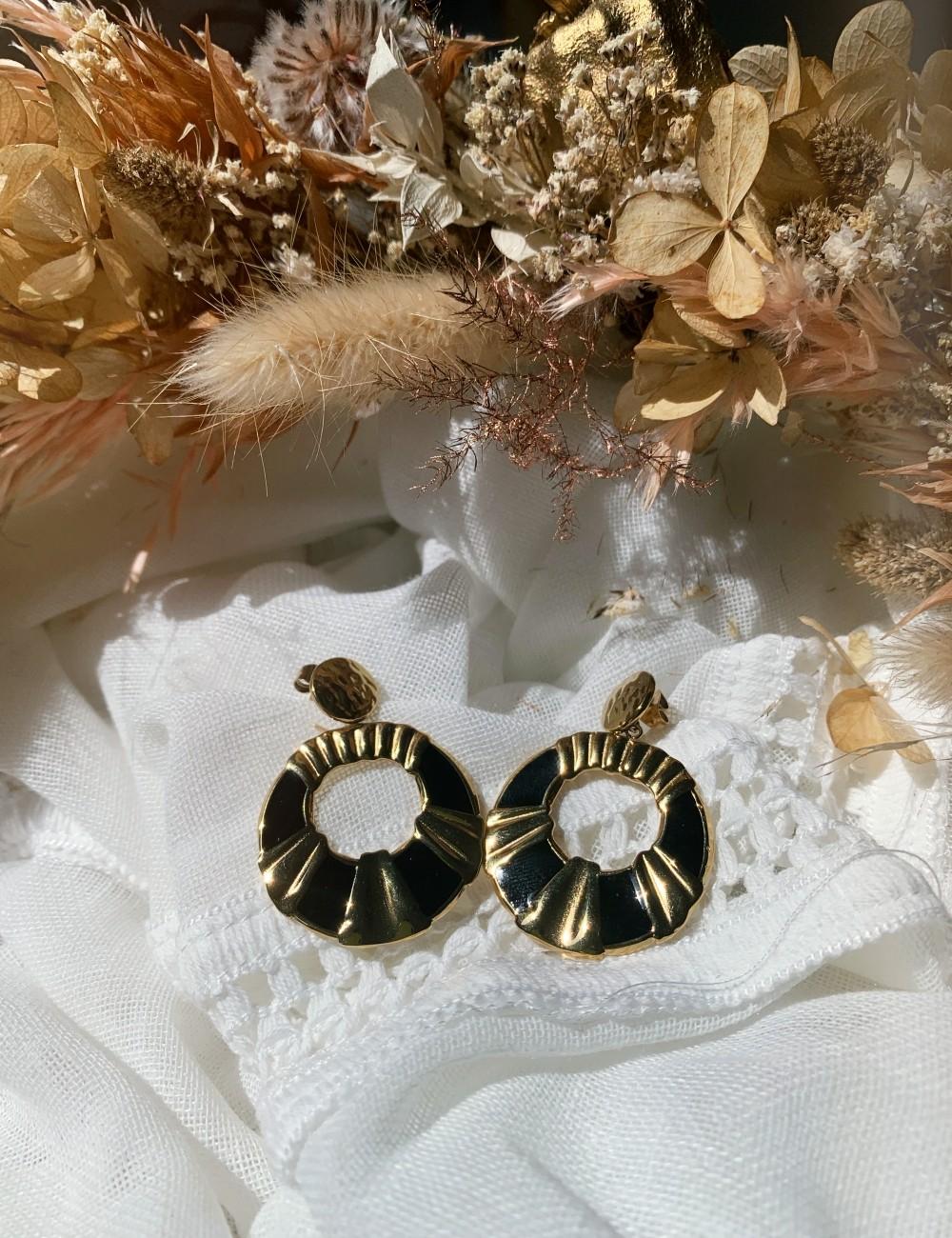 Boucles d'oreilles rondes hippie M21FE103 - Boutique L'anana(s)