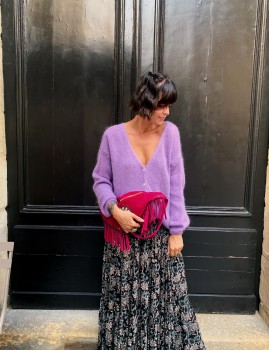 Gilet en mohair over size hippie lilas CLAIRE - Boutique L'anana(s)