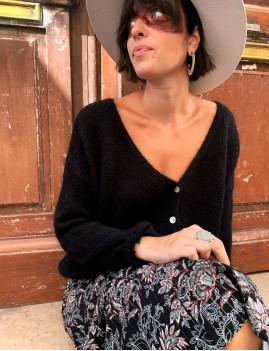 Gilet en mohair oversize bohème noir CLAIRE - Boutique L'ananas