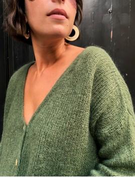 Gilet en mohair over size boho chic kaki CLAIRE - Boutique L'anana(s)