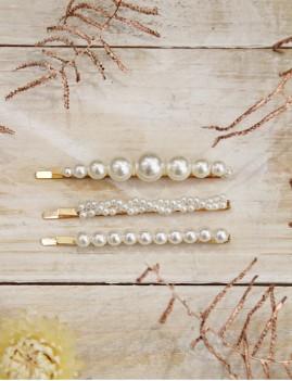 Lot de 3 barrettes perles nacrées - Boutique l'ananas