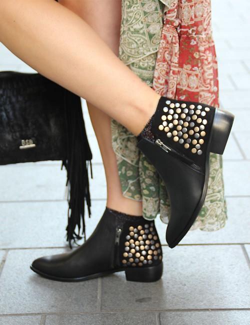 Boots en cuir cloutées gypsy rock - Boutique l'ananas