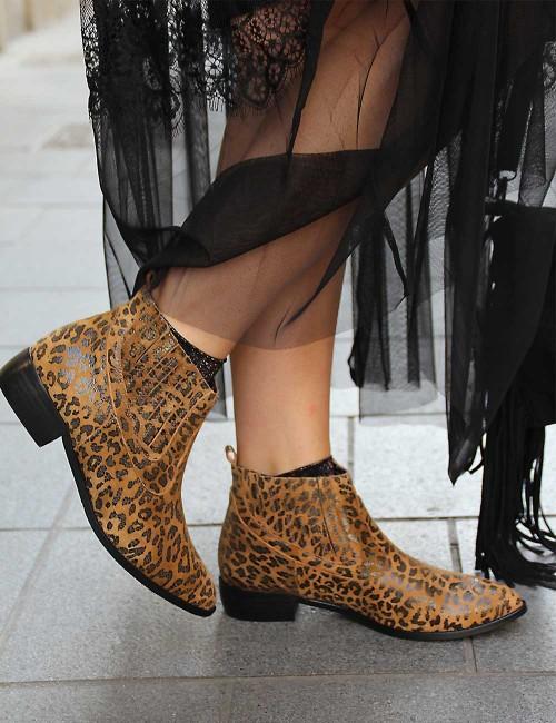 Boots en cuir gypsy camel imprimé léopard - Boutique l'ananas