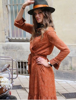 Robe à pois orange - Boutique l'ananas