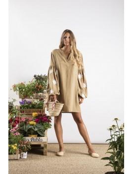 Robe courte avec manches brodées fleurs - Boutique l'ananas