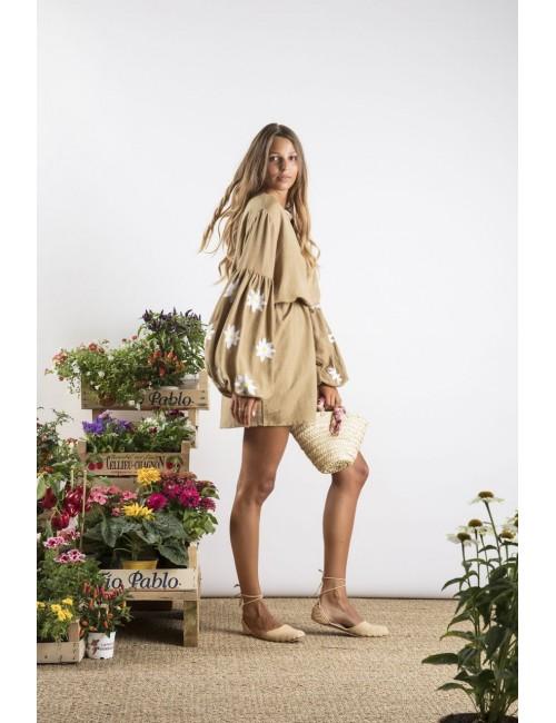Robe avec manches brodées fleurs - Boutique l'ananas