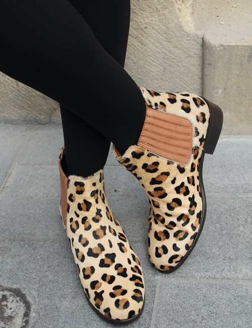 Boots léopard en cuir bohemian girl - Boutique l'ananas