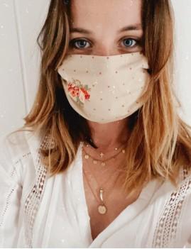Masque protection tissus motifs pois et fleurs - Boutique l'ananas