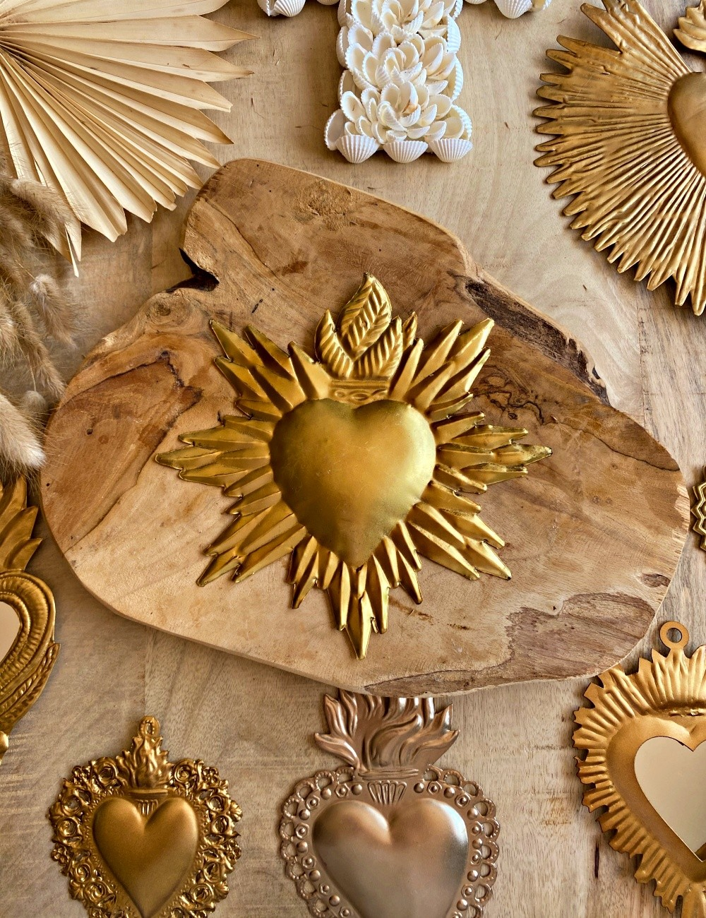 Coeur exvoto gold décoration bohème - Boutique l'ananas