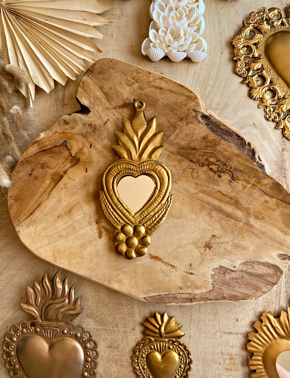 Miroir coeur exvoto hippie - Boutique l'ananas