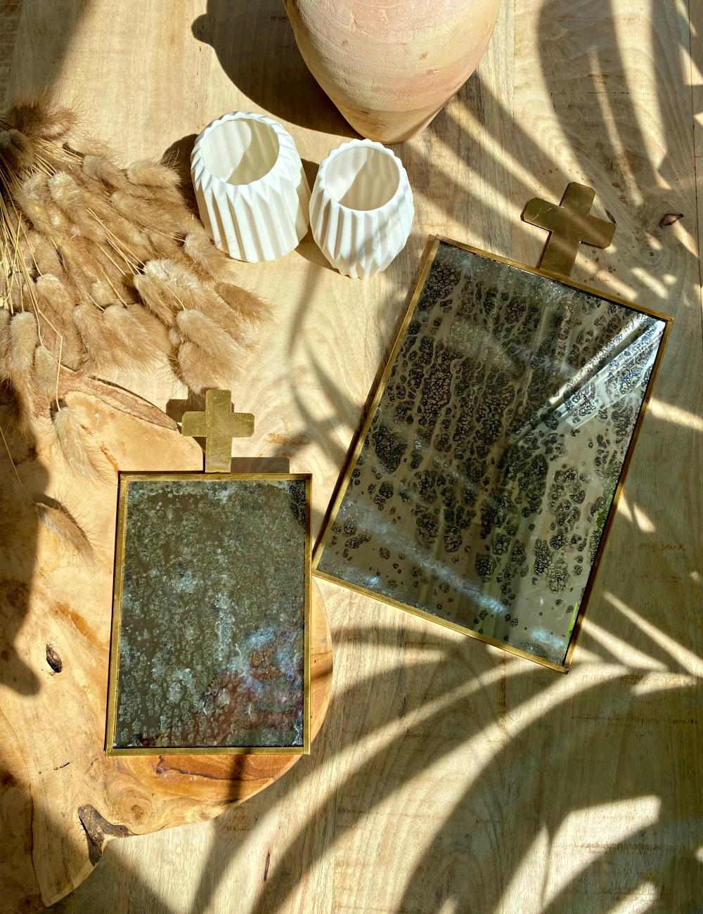 Miroir vintage croix doré bohème - Boutique l'ananas