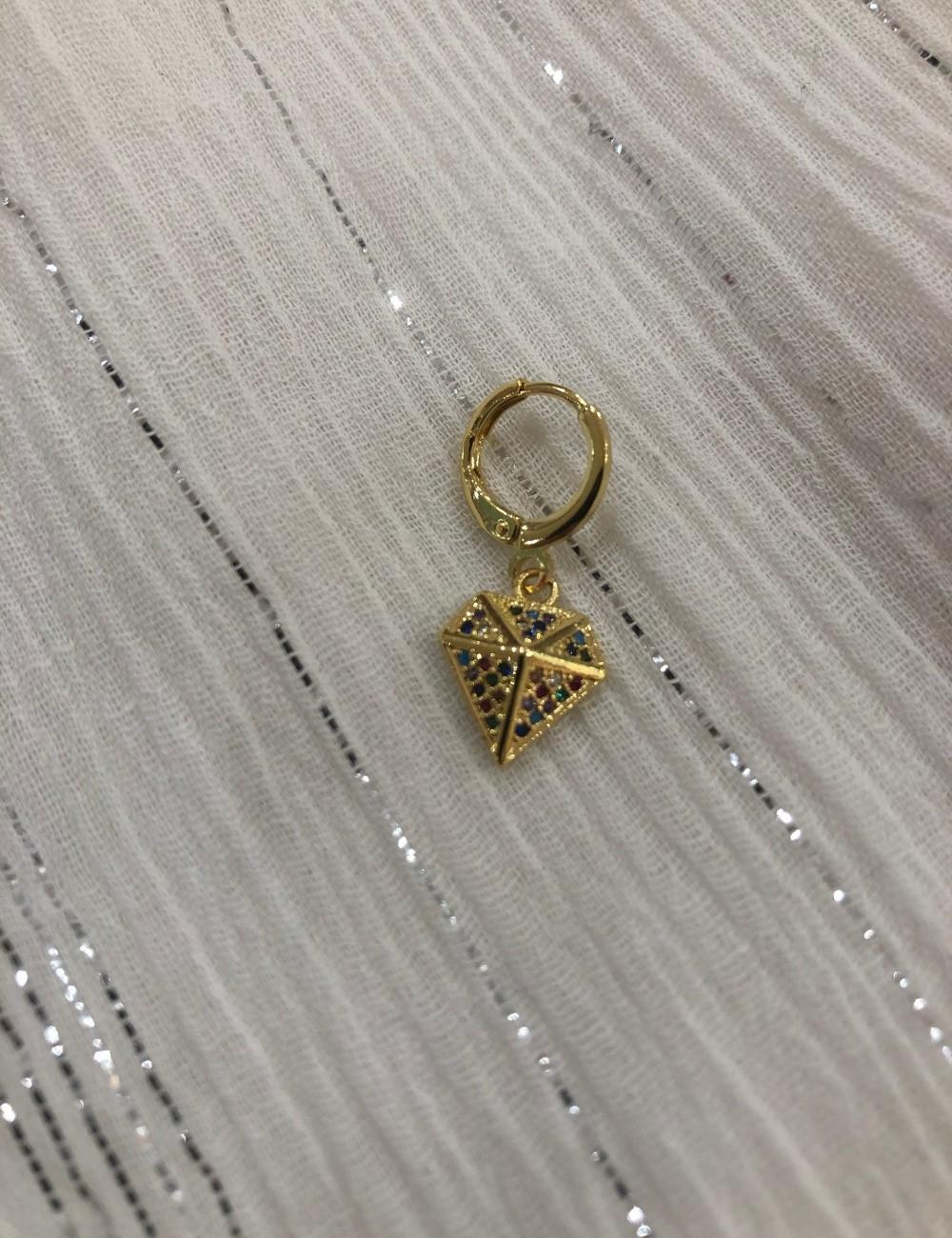 Mini créole diamant strass multicolore - Boutique L'ananas