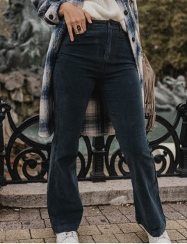 Pantalon en velours hippie chic bleu - Boutique l'ananas